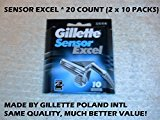 Gillette Sensor Excel Razor Refill Cartridges 20 Count