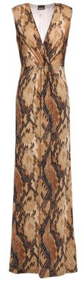 Just Cavalli Wrap-effect Snake-print Stretch-jersey Maxi Dress