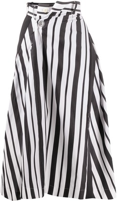 Sacai Striped-Print Crossover Skirt