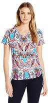 Caribbean Joe Women's Plus Size Best Selling Short Sleeve V Neck Side Ruche Floral Printed Top
