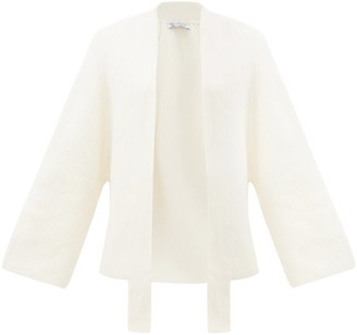 Johnstons of Elgin Johnston's Of Elgin - Emily Ribbed-knit Cashmere Cardigan - Womens - Cream