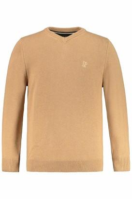 JP 1880 Men's Big & Tall V-Neck Sweater Dark Olive Green Melange XXXXX-Large 723418 44-5XL