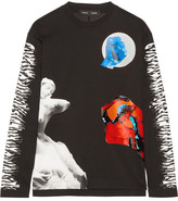 Proenza Schouler Printed Bonded Cotton-jersey Top - Black