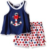 "Kids Headquarters Baby Girls' ""Anchor & Bow Applique"" 2-Piece Outfit"
