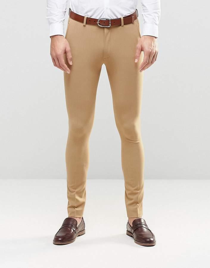 Asos Design Super Skinny Fit Suit Pants In Camel