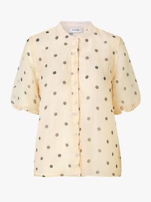 Levete Room - Kada Puff Sleeve Spot Shirt Antique White - XS