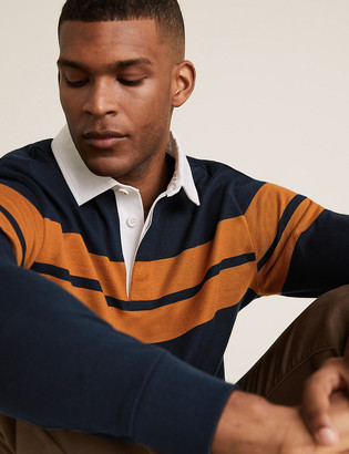 Marks and Spencer Pure Cotton Striped Long Sleeve Rugby Top