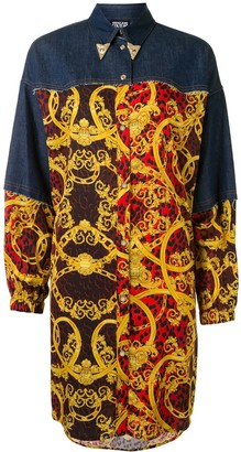 Versace Contrast Panel Baroque Print Shirt Dress