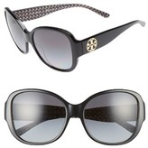 Tory Burch Women's 56Mm Gradient Polarized Round Sunglasses - Black/ Black White Zig Zag