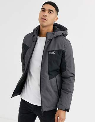 Jack and Jones Core hooded padded jacket with contrast chest panels in grey