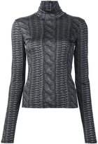 Christian Siriano cable knit print roll neck top