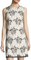 Donna Ricco Sleeveless Embroidered Mesh Shift Dress