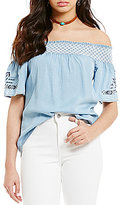 Soulmates Chambray Embroidered Off-The-Shoulder Peasant Top