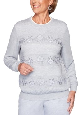 Alfred Dunner Petite All About Ease Beaded Embroidered Sweatshirt