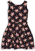 Un Deux Trois Girl's Floral-Print Sleeveless Dress