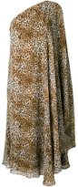 Saint Laurent leopard print one-shoulderdress