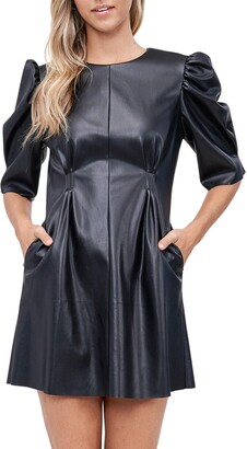 En Saison Puff Sleeve Faux Leather Minidress