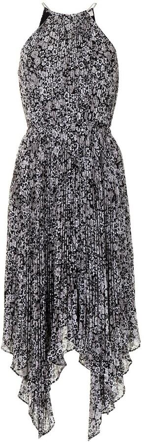 MICHAEL Michael Kors Floral Pleated Handkerchief-Hem Dress