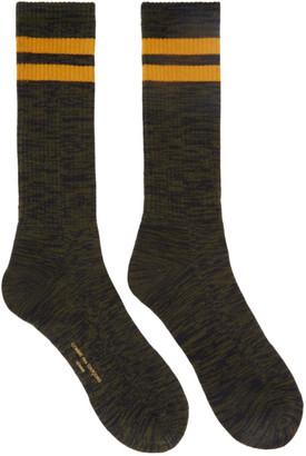Comme des Garçons Homme Khakiand Navy Paralleled Socks
