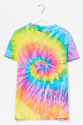 Nasty Gal Womens Blurred Lines Tie Dye Relaxed Tee - Green - S