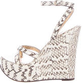 Dolce & Gabbana Embossed Leather Wedge Sandals