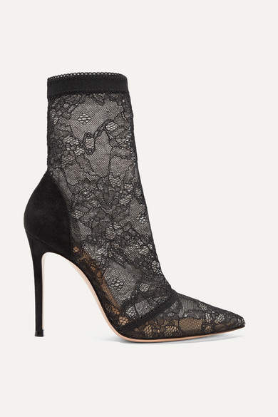 Gianvito Rossi 105 Stretch-lace And Suede Sock Boots - Black