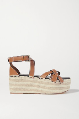 Loewe Gate Topstitched Leather Espadrille Platform Sandals - Brown