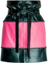 Leka Black & Pink Leather Skirt