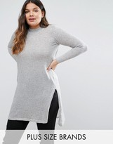 Junarose Funnel Neck Longline Knitted Sweater With Side Splits