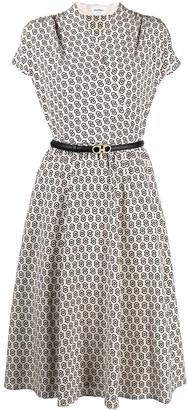 Salvatore Ferragamo Double Gancini-print belted dress