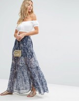 Asos Tiered Maxi Skirt in Ditsy Floral with Front Split