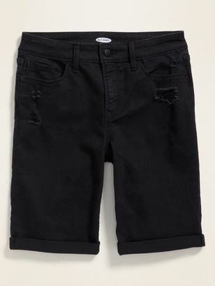 Old Navy High-Waisted Distressed Black Bermuda Jean Shorts for Women -- 9-inch inseam