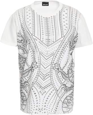 Just Cavalli Studded Cotton-blend Jersey T-shirt