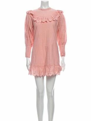LoveShackFancy Mock Neck Mini Dress Pink