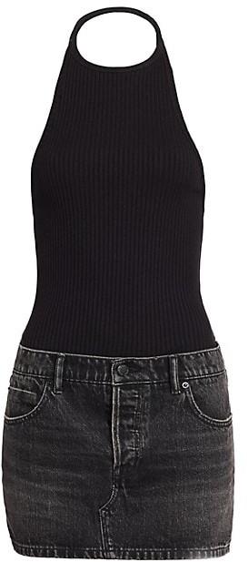 alexanderwang.t Hybrid Knit & Denim Halter Dress