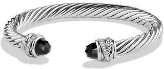 David Yurman Crossover Bracelet with Diamonds and Black Onyx in Silver