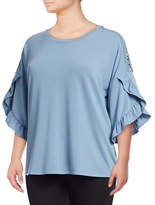Style And Co. Plus Plus Ruffle Three Quarter Sleeve Top