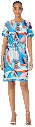 Donna Morgan Short Sleeve Printed Jersey Shift Dress (Coral/Aqua) Women's Clothing