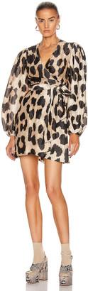 Ganni Silk Linen Dress in Maxi Leopard   FWRD