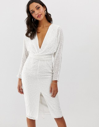 Asos Design DESIGN midi dress with batwing sleeve and wrap waist in scatter sequin-White