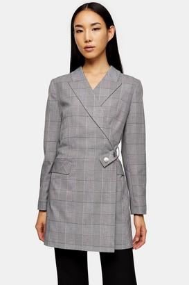 Topshop Womens Black And White Check Blazer Dress - Monochrome