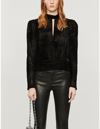Frame Party high-neck velvet blouse