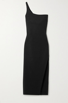 Coperni One-shoulder Stretch Cotton-blend Cady Midi Dress - Black