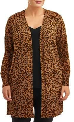 Terra & Sky Women's Plus Size Leopard Sweater Cardigan with Pockets