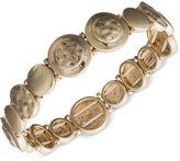lonna & lilly Gold-Tone Hammered Disc Stretch Bracelet