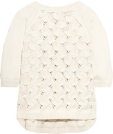 Raoul Paneled open-knit cotton-blend sweater