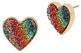 Betsey Johnson Rainbow Connection Pave Crystal Studded Heart Earrings