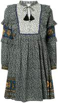 Sea Maya border print ruffle sleeve dress