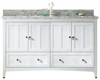 "American Imaginations 60"" Double Bathroom Vanity Set Base Finish: White, Top Finish: Bianca Carara, Faucet Mount: 8"" Center"