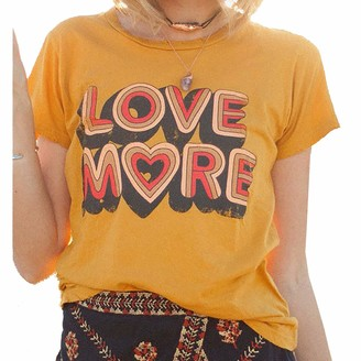 soweilan Women Short Sleeve Love More Print Heart Graphic Tshirt Oversized Pullover Vintage Top Mother's Day Yellow
